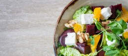 A bowl of salad with feta